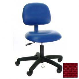 ESD-Safe Vinyl Clean Room Chair with Nylon Base with Drag Chain Burgundy