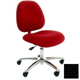 High Back Conductive Fabric Chair w/ Aluminum Base & ESD Casters Black