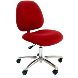 High Back Conductive Fabric Chair w/ Aluminum Base & ESD Casters Gray