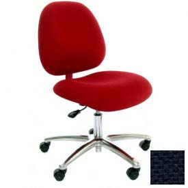 High Back Conductive Fabric Chair w/ Aluminum Base & ESD Casters Navy