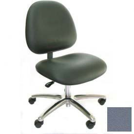 Heavy Duty High Back Clean Room Vinyl Chair with Aluminum Base Gray