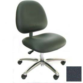 Heavy Duty High Back Clean Room Vinyl Chair with Aluminum Base Dark Gray