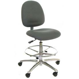 ESD Stool with Footrest - Mid-Back - Fabric - Gray - Aluminum Base