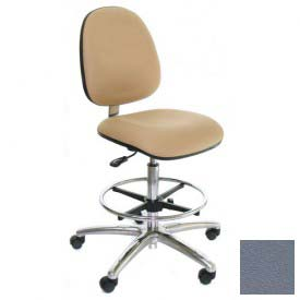 Heavy Duty Clean Room Stool - Vinyl - Mid Back - Aluminum Base - Gray