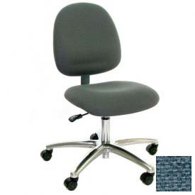 Mid Back Conductive Fabric Chair with Aluminum Base Light Blue