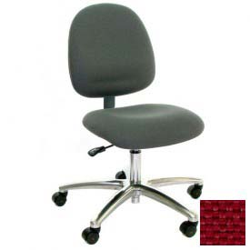 Mid Back Conductive Fabric Chair with Aluminum Base Light Burgundy