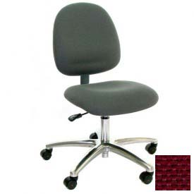Mid Back Conductive Fabric Chair with Aluminum Base Burgundy