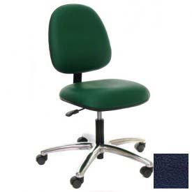 Heavy Duty Mid Back Vinyl Chair with Aluminum Base Navy
