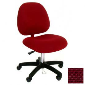 High Back Conductive Fabric Chair w/ Nylon Base & Drag Chain Burgundy