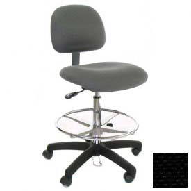 ESD Stool with Footrest - Low Back - Fabric - Black - Nylon Base