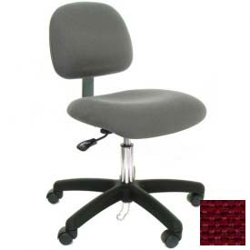 Low Back Conductive Fabric Chair with Nylon Base & Drag Chain Burgundy