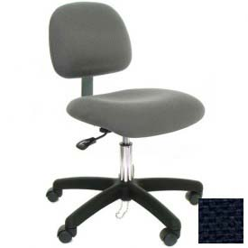 Low Back Conductive Fabric Chair with Nylon Base & Drag Chain Navy