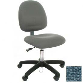 Mid Back Conductive Fabric Chair with Nylon Base & Drag Chain Light Blue