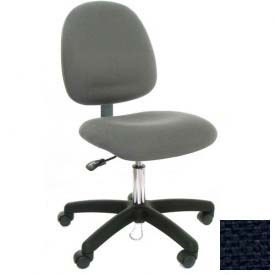 Mid Back Conductive Fabric Chair with Nylon Base & Drag Chain Navy