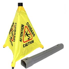 """Impact® Pop Up Safety Cone 20"""" Yellow/Black, Multi-Lingual - 9183 - Pkg Qty 4"""