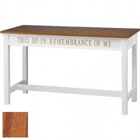# 815 Open Communion Table, Two Tone Colonial White, Medium Oak Stain Trim