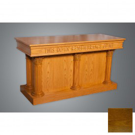 #8500 Series Ornate Closed Communion Table, Traditional Oak Stain