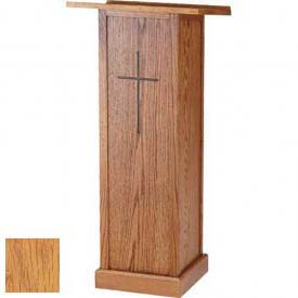 "Full Pedestal Lectern, With Cross, 45""H, Light Oak Stain"