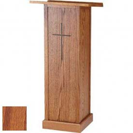 "Full Pedestal Lectern, With Cross, 45""H, Medium Oak Stain"