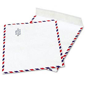 DuPont Tyvek® Airmail Envelopes, White, Red & Blue Border, 100/Box, 10 x 13