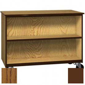 "Mobile Wood Double-Faced Cabinet, 1 Shelf, Open Front, 48""W x 22-1/4""D x 36""H, Dixie Oak/Brown"