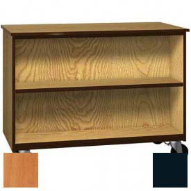 """Mobile Wood Double-Faced Cabinet, 1 Shelf, Open Front, 48""""W x 22-1/4""""D x 36""""H, Oiled Cherry/Black"""