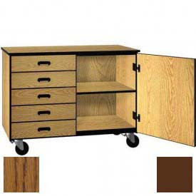 Mobile Wood Cabinet, Five Drawers, 1 Shelf, Solid Doors, 48 x 22-1/4 x 36, Dixie Oak/Brown