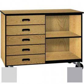 Mobile Wood Cabinet, Five Drawers, 1 Shelf, Open Front, 48 x 22-1/4 x 36, Folkstone/Grey