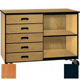 Mobile Wood Cabinet, Five Drawers, 1 Shelf, Open Front, 48 x 22-1/4 x 36, Oiled Cherry/Black