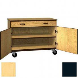 "Mobile Wood Cabinet, 1 Drawer 1 Shelf, Solid Door, 48""W x 22-1/4""D x 36""H, Maple/Black"