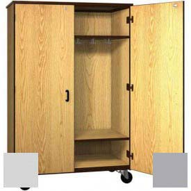 "Mobile Wood Wardrobe Cabinet w/Locks, Solid Door, 48""W x 22-1/4""D x 72""H, Folkstone/Grey"