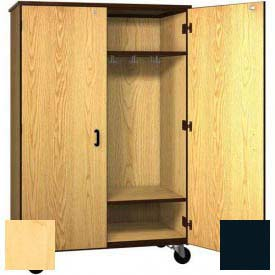 "Mobile Wood Wardrobe Cabinet w/Locks, Solid Door, 48""W x 22-1/4""D x 72""H, Maple/Black"