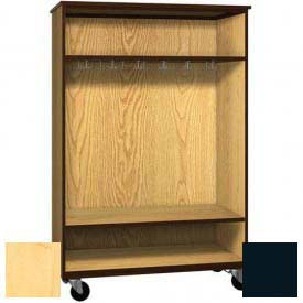 "Mobile Wood Wardrobe Cabinet, Open Front, 48""W x 22-1/4""D x 72""H, Maple/Black"
