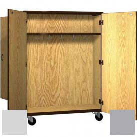 "Mobile Wood Double-Faced Combo Cabinet, Solid Door, 48""W x 28-1/4""D x 66""H, Folkstone/Grey"