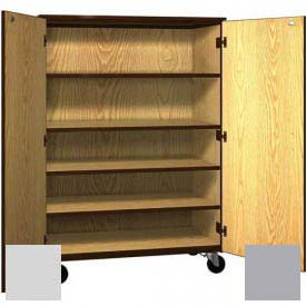 "Mobile Wood General Storage Cabinet, w/Locks, Solid Door, 48""W x 22-1/4""D x 66""H, Folkstone/Grey"