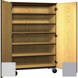 "Mobile Wood General Storage Cabinet, w/Locks, Solid Door, 48""W x 22-1/4""D x 72""H, Cactus Star/Grey"