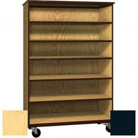 "Mobile Wood General Storage Cabinet, Open Front, 48""W x 22-1/4""D x 72""H, Maple/Black"