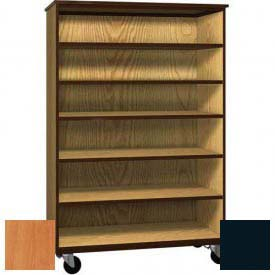 "Mobile Wood General Storage Cabinet, Open Front, 48""W x 22-1/4""D x 72""H, Oiled Cherry/Black"