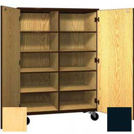 Mobile Wood Cubicle Cabinet, 8 Shelves w/Locks, Solid Door, 48 x 22-1/4 x 66, Maple/Black