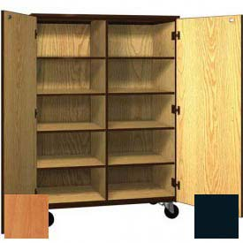Mobile Wood Cubicle Cabinet, 8 Shelves w/Locks, Solid Door, 48 x 22-1/4 x 66, Oiled Cherry/Black