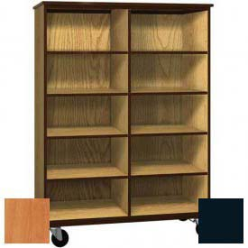 Mobile Wood Cubicle Cabinet, 8 Shelves, Open Front, 48 x 22-1/4 x 66, Oiled Cherry/Black