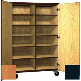 Mobile Wood Cubicle Cabinet, 10 Shelves w/Locks, Solid Door, 48 x 22-1/4 x 72, Oiled Cherry/Black