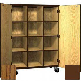 Mobile Wood Cubicle Cabinet, 9 Shelves w/Locks, Solid Door, 48 x 22-1/4 x 66, Dixie Oak/Brown