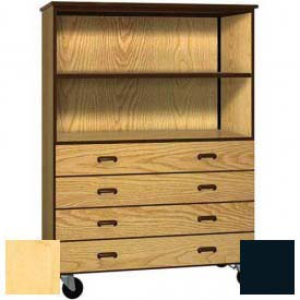 Mobile Wood Combo Cabinet, 4 Drawers, 1 Shelf, Open Front, 48 x 22-1/4 x 66, Maple/Black