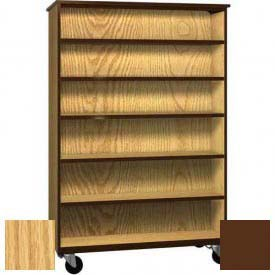 "Mobile Wood Double-Faced Bookcase, Open Front, 48""W x 22-1/4""D x 72""H, Natural Oak/Brown"