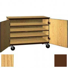 """Tote Tray Mobile Wood Cabinet, Solid Door, 48""""W x 22-1/4""""D x 36""""H, Natural Oak/Brown"""