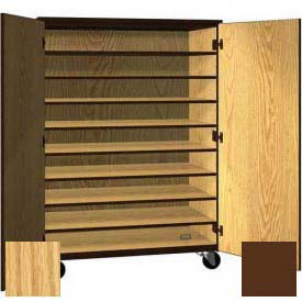 """Tote Tray Mobile Wood Cabinet, Solid Door, 48""""W x 22-1/4""""D x 66""""H, Natural Oak/Brown"""