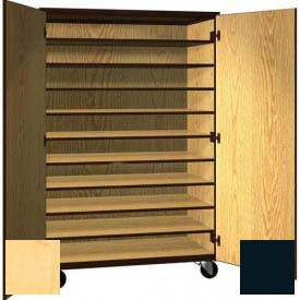 "Tote Tray Mobile Wood Cabinet, Solid Door, 48""W x 22-1/4""D x 72""H, Maple/Black"