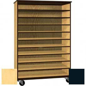 """Tote Tray Mobile Wood Cabinet, Open Front, 48""""W x 22-1/4""""D x 72""""H, Maple/Black"""