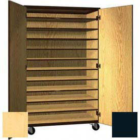 "Tote Tray Mobile Wood Cabinet, Solid Door, 48""W x 22-1/4""D x 78""H, Maple/Black"